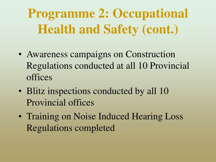 Programme 2: Occupational Health and Safety (cont.)