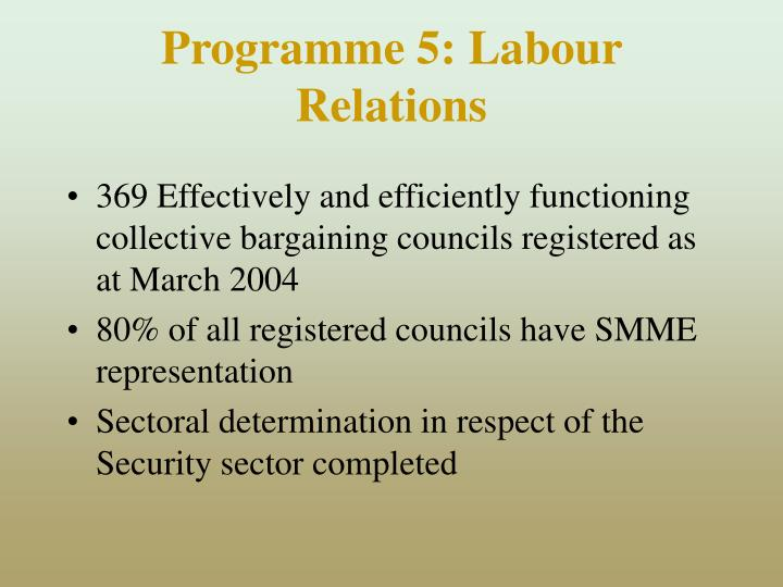 Programme 5: Labour Relations