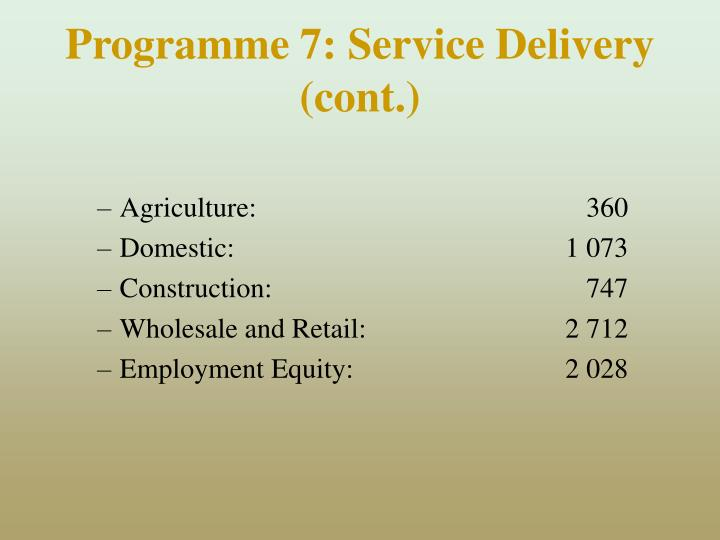 Programme 7: Service Delivery (cont.)