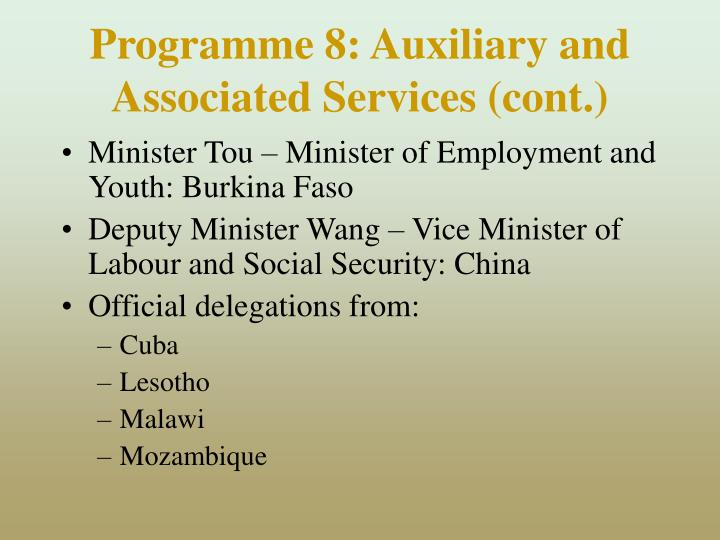 Programme 8: Auxiliary and Associated Services (cont.)