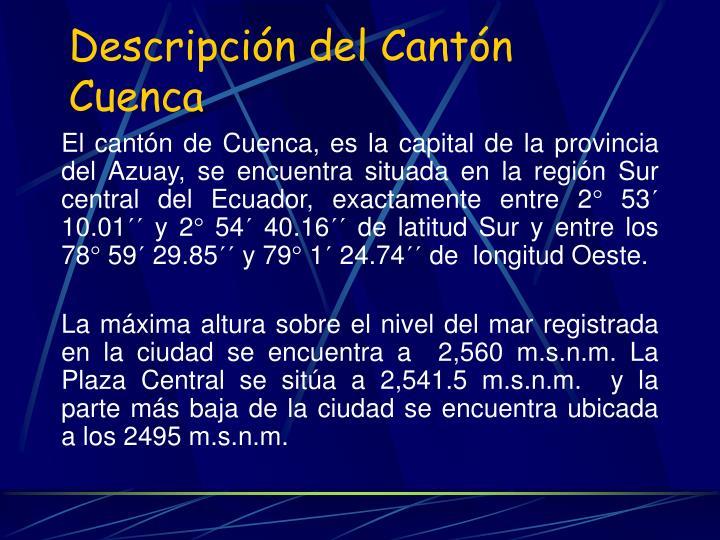 Descripción del Cantón Cuenca