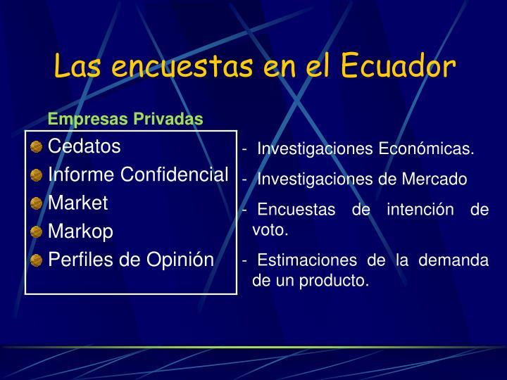 Las encuestas en el Ecuador