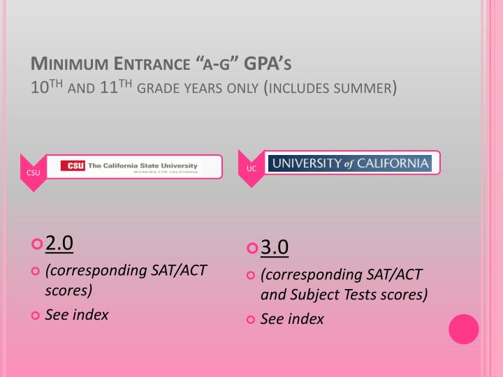 "Minimum Entrance ""a-g"" GPA's"