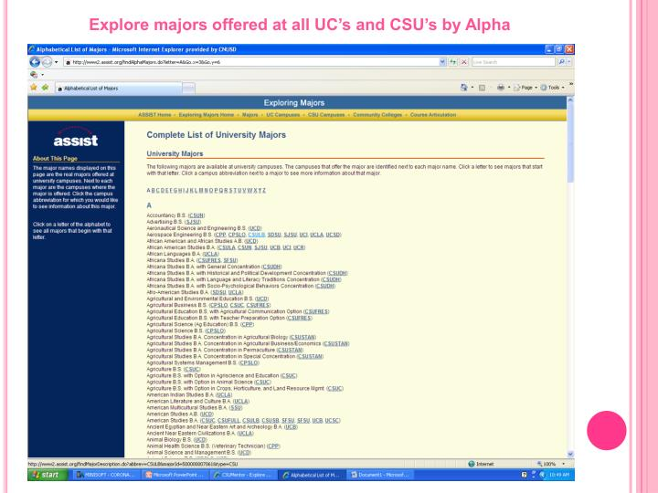 Explore majors offered at all UC's and CSU's by Alpha