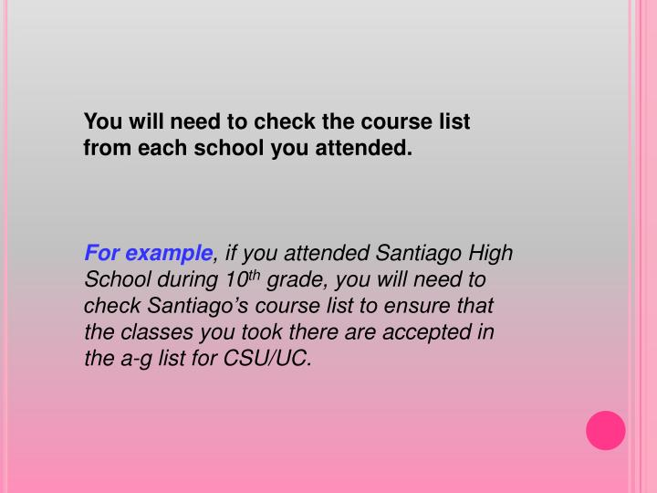 You will need to check the course list from each school you attended.
