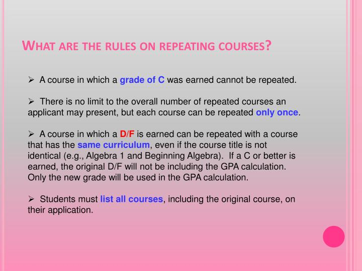 What are the rules on repeating courses?