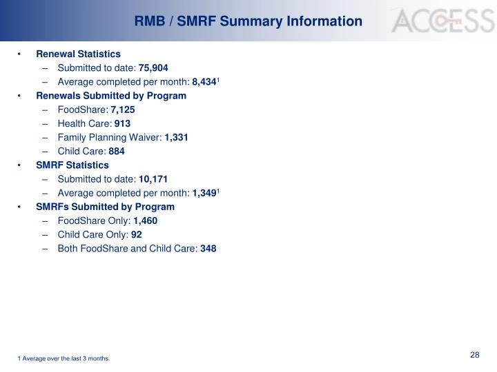 RMB / SMRF Summary Information