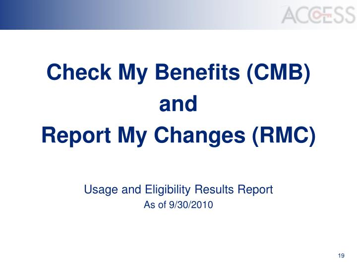 Check My Benefits (CMB)
