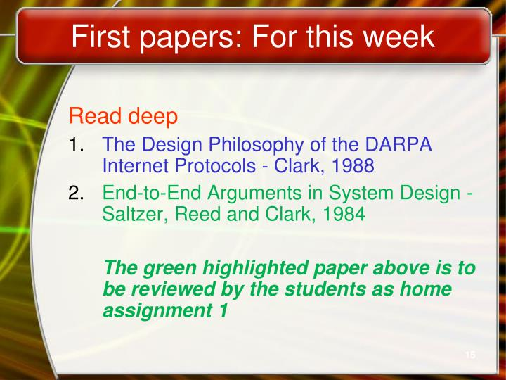 First papers: For this week