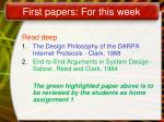 first papers for this week