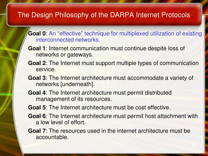 The Design Philosophy of the DARPA Internet Protocols
