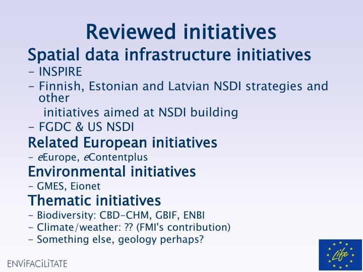 Reviewed initiatives