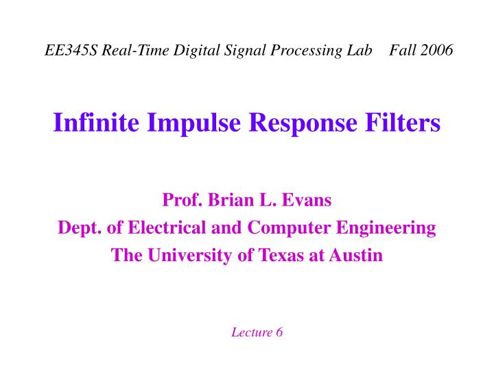 Infinite impulse response filters