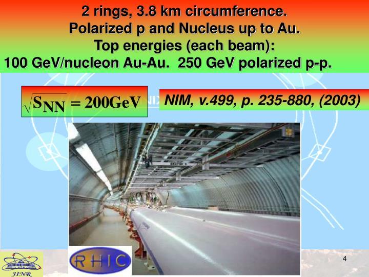 2 rings, 3.8 km circumference.