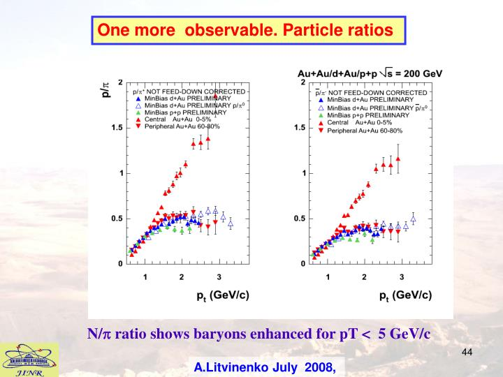 One more  observable. Particle ratios