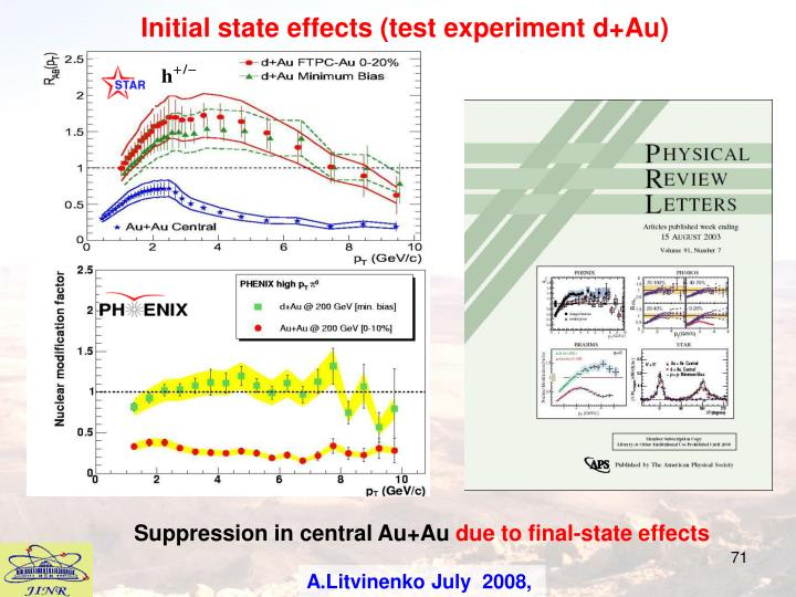 Initial state effects (test experiment d+Au)