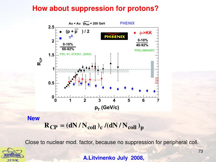 How about suppression for protons?