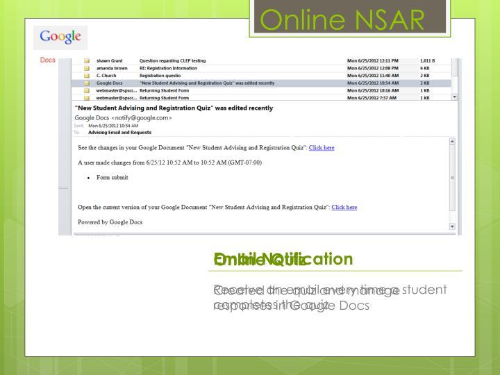 Online NSAR