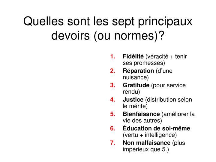Quelles sont les sept principaux devoirs (ou normes)?