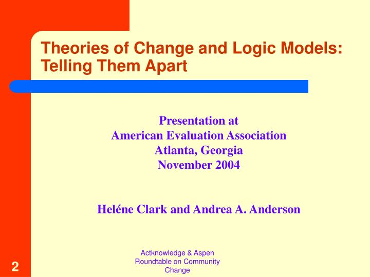 Theories of change and logic models telling them apart1