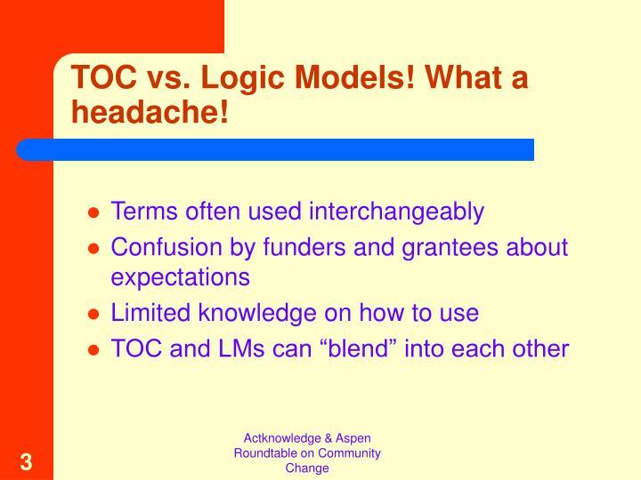 TOC vs. Logic Models! What a headache!