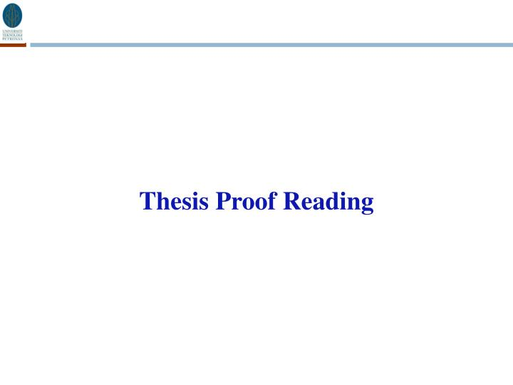 Thesis Proof Reading