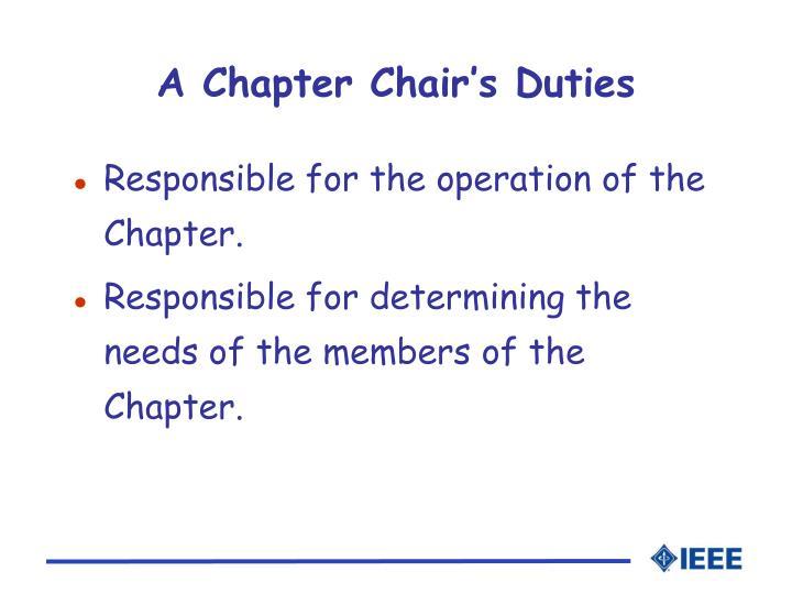 A Chapter Chair's Duties