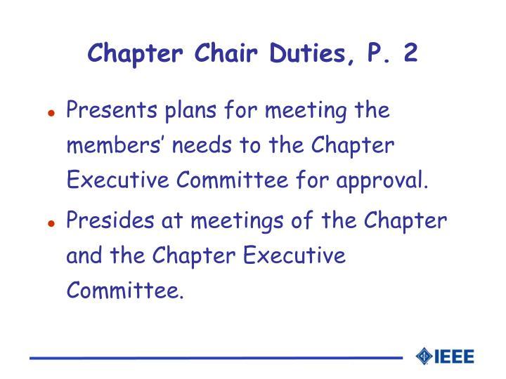 Chapter Chair Duties, P. 2
