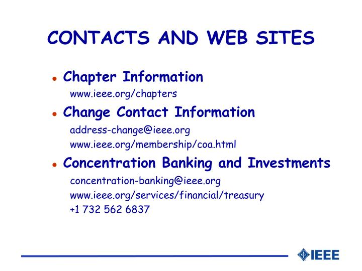 CONTACTS AND WEB SITES