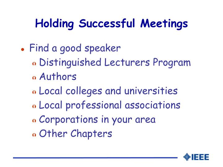 Holding Successful Meetings