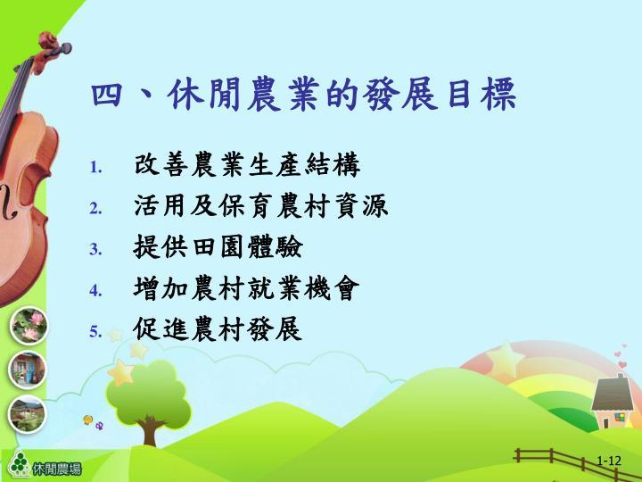 四、休閒農業的發展目標