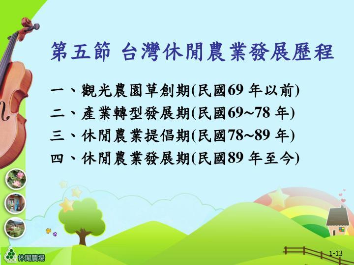 第五節 台灣休閒農業發展歷程