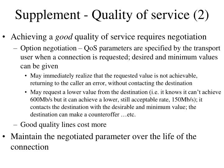 Supplement - Quality of service (2)