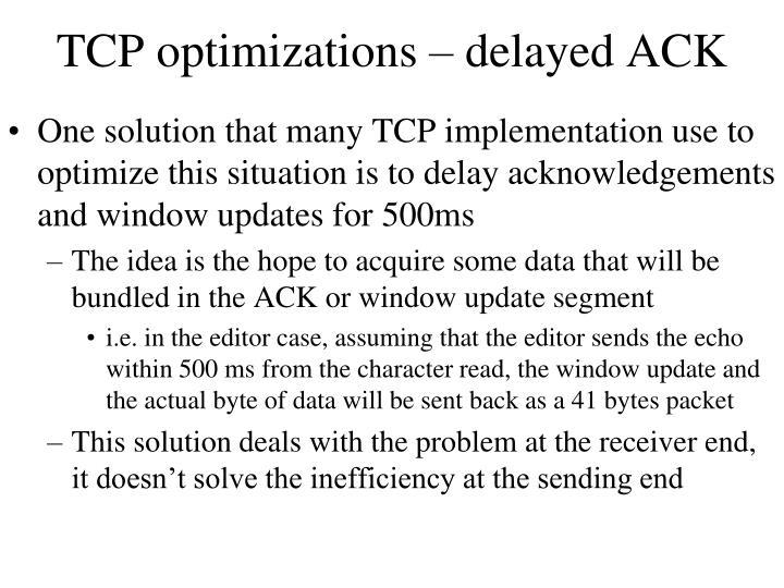 TCP optimizations – delayed ACK