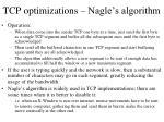 tcp optimizations nagle s algorithm