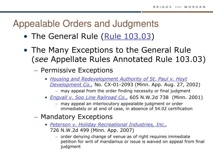 Appealable Orders and Judgments