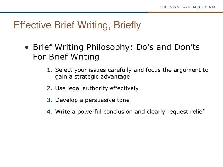 Effective Brief Writing, Briefly