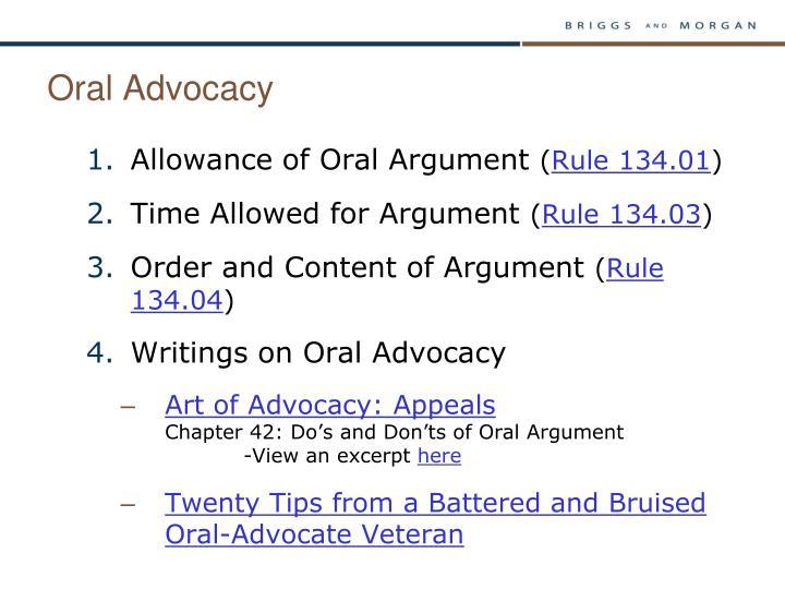 Oral Advocacy