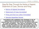 step by step through the notice of appeal statement of case service and filing