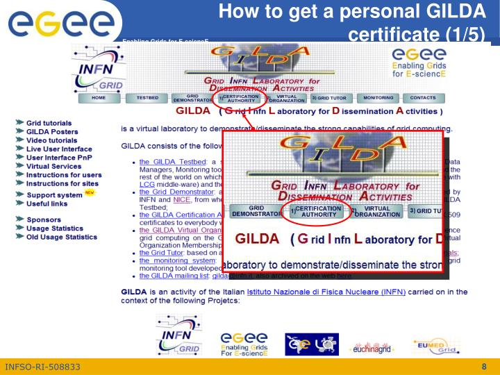 How to get a personal GILDA certificate (1/5)