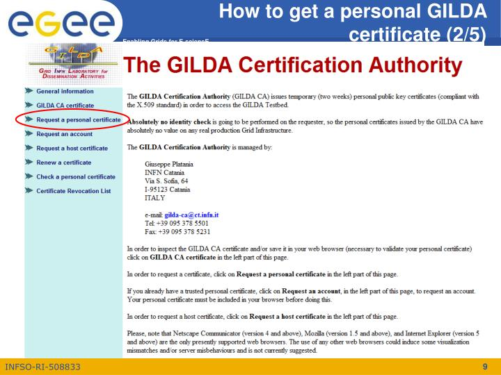 How to get a personal GILDA certificate (2/5)