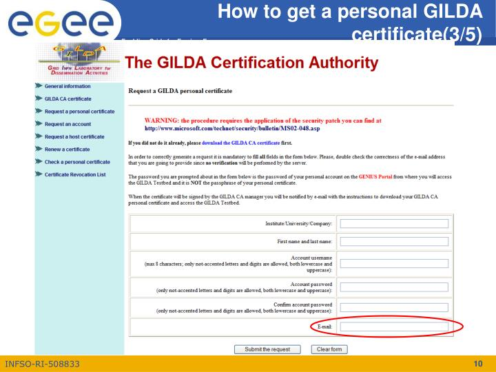How to get a personal GILDA certificate(3/5)