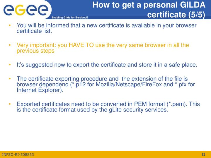 How to get a personal GILDA certificate (5/5)
