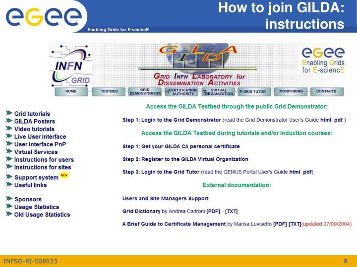 How to join GILDA: instructions