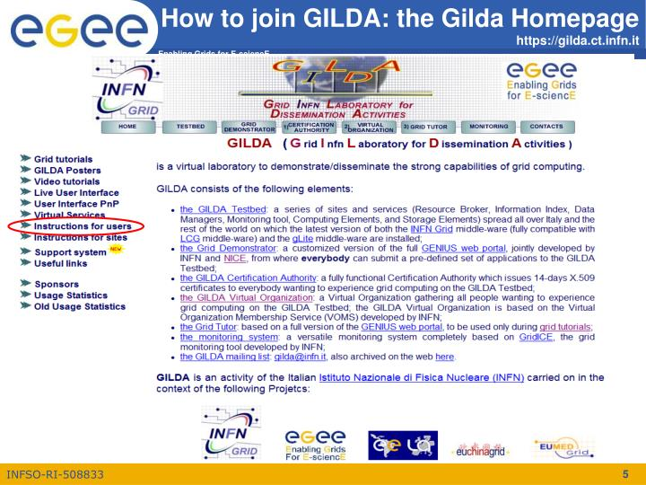 How to join GILDA: the Gilda Homepage