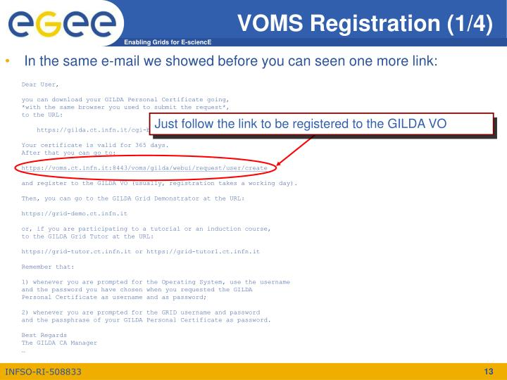 Just follow the link to be registered to the GILDA VO