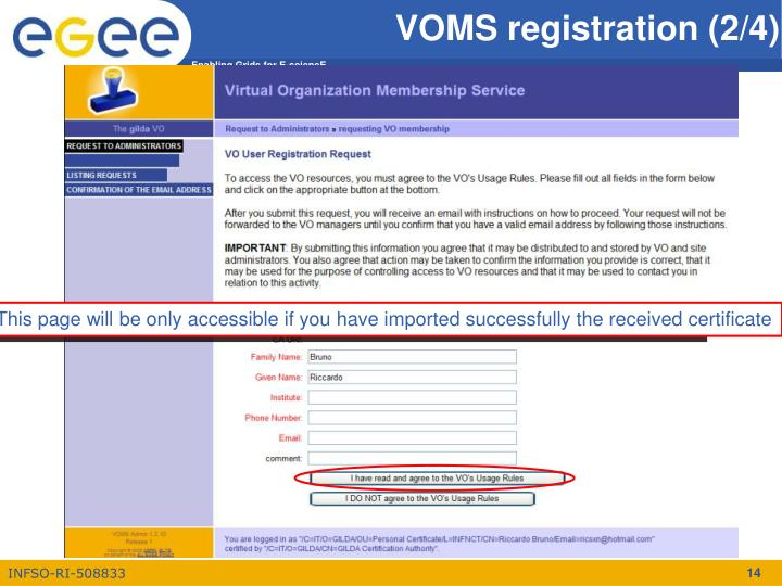 This page will be only accessible if you have imported successfully the received certificate