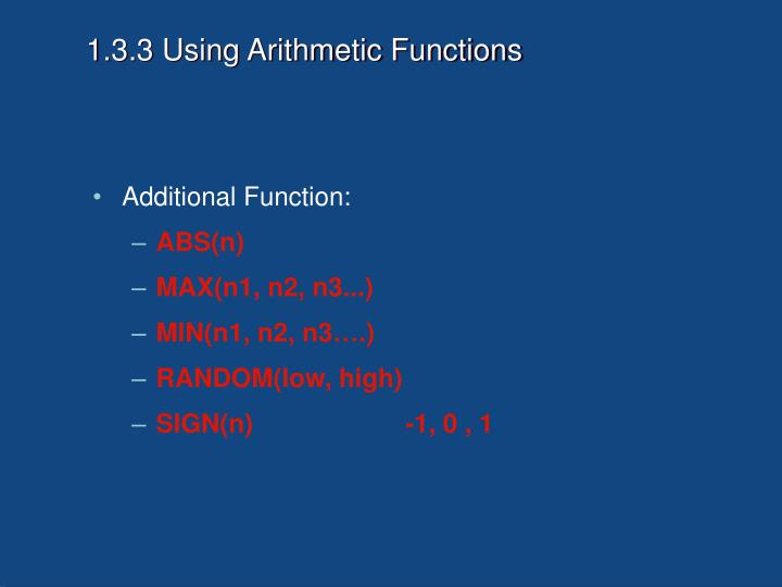 1.3.3 Using Arithmetic Functions