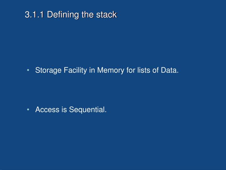 3.1.1 Defining the stack