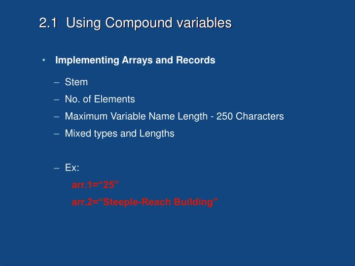 2.1  Using Compound variables